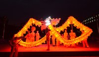 Wholesale Red Dragon Mascot Costume - size 3 6m-26m LED Light folk red silk dragon colorful brand new dragon dance mascot costume china special culture holiday party