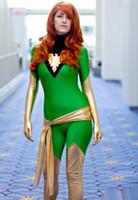 ingrosso zentai costumi supereroi lucido-Costume adulto di X-Men Jean Grey di trasporto libero verde e oro Lycra Shiny Zentai Superhero Halloween Phoenix Costume