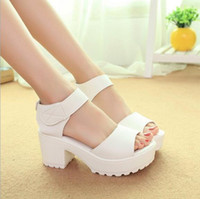 Wholesale White Chunky Platform Sandals - wholesale Fashion Sandals Women Summer shoes 2016 wedges Open Toe Thick Heel Mujer Soft PU Women Platform Sandals high-heeled Shoes Woman