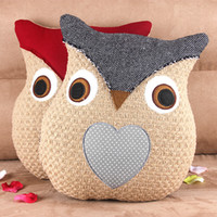Wholesale Owl Handmade Pillow - 1pcs New Mediterranean-style Owl Cushion Creative Handmade Cushions with core Knitted Countryside Style Owl Pillow for Sofa Bed Decor