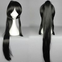Wholesale Black Pigtail Wig Cosplay - Fashion Japanese Massively Multiplayer Game ToukenRanbu ToukenRanbu TaroTachi Black Cosplay Wig Pigtail + 1 Ponytail ePacket Free