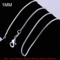 """Wholesale Silver Jewelry Box China - Wholesale Bulk Jewelry Charm Case Sterling Silver Chain 925 Silver Boxes Necklace Lobster Clasp 1mm 16""""18""""20""""22""""24"""" Mix Order"""