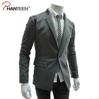 Wholesale-One Button Turn-down-Kragen-Normallack-Männer Jackett Pu Patchwork Fitness Hochzeit Casual Man Blazer Mode Oberbekleidung