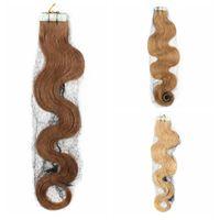 dalga sarışın saç uzatma atkı toptan satış-İnsan Saç Uzantıları # 613 Remy Malezya Bant Ağartıcı Sarışın 10A Işlenmemiş Cilt Atkı PU Saç Malezya Vücut Dalga Bakire saç 40 adet set