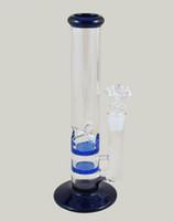 tubos de vidrio soplado azul al por mayor-Nuevo Vidrio Bong Chepest Bubbler soplado a mano de cristal de agua Pipes Perc Percher de agua azul tubo de fumar Honeycomb Disk 18mm Joint envío gratis