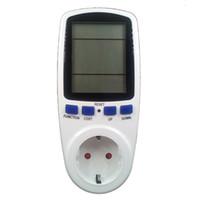 amps meter großhandel-Großhandel-EU-Stecker Power Energy Watt Spannung Amps Meter Analyzer mit Strom Stromverbrauch Monitor (Energie Meter)