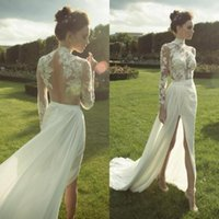 2016 Sexy Illusion Bodice Mantel Brautkleid Sehen Sie durch Top High Neck Lace Appliques Open Back Chiffon Brautkleider mit High Split