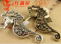Wholesale Antique Seahorse - A3819 27*51MM Antique bronze In Europe and the popular DIY pendant jewelry accessories wholesale, tibet silver seahorse charm nautical