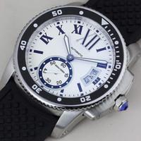 Wholesale Caliber Watches - Luxury Brand white top quality Men Watch caliber 16 Automatic Mechanical Watches bleu Men's Dress rubber belt WristWatches