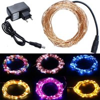 Wholesale Led Christmas Lights Power Adapter - Waterproof Christmas Light 10m 30m 50m 500 LEDs Copper Wire LED String Lights with Power Adapter (UK US EU AU) Wedding Holiday Party Lights