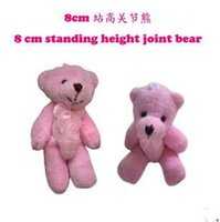 Wholesale Wedding Soft Teddy Bears - 8 CM Pink Teddy Bear Small Soft Toy Charming Wedding Supplies Stuffed Plush Joint Bear Can Sit For Children   Adult 20Pcs  Lot