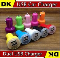 200pcs Atacado Frete Grátis Micro Auto Universal Dual USB Car Charger para iPad para iPhone 5V 2.1A Mini Adapter 9 Color for Choice