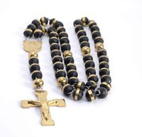 Wholesale High Quality New Fashion Rosary Chain Necklace L Stainless Steel Gold Religous Beads Crucifix Cross Charm Jewelry