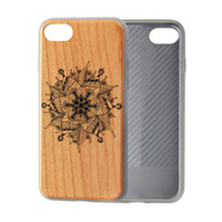 Wholesale Case Cherry Wood - Print Wood Case for iPhone 8 Plus for iPhone 7 for iPhone 8 Cherry Bamboo Wood TPU Shockproof Mobile Phone Cover Accessories