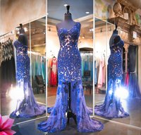 Wholesale Sweet 16 High Low Dresses - High Low Mermaid Prom Dresses One Shoulder Lace Appliques Sequins Beads Evening Dress With Low Back See Through Sweet Train Pageant Dress