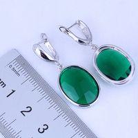 Wholesale Stamped Bag - Elegant Oval Green Emerald 925 Stamp Silver Plated Huggie Hoop Earrings for Women Free Gift Bag J0496