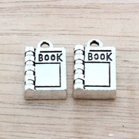 Wholesale Antiques Books - Hot ! 100pcs Antique Silver Alloy book Charms DIY Jewelry 11 x 17mm