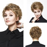 Wholesale Short Curly Synthetic Hair - Wig cosplay Synthetic Hair Women Short Curly Blonde Wigs 28inch Heat Resistant Synthetic Natural Wigs African American Wigs fashion new