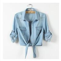 Wholesale Gradient Denim Shirts Women - New 2016 Summer Women Casual Cropped sleeves Sleeve Denim Shirts women's Fashion Short Blouses Hot Sale Girls Slim Tops