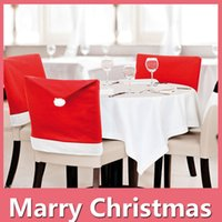 Wholesale Chair Feet Caps - 2016 New Christmas Gift Santa Red Hat Chair Covers Christmas Decoration Dinner Party Chair Xmas Cap DHL Free 161014