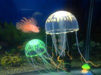 adorno grande al por mayor-Big Style 6 Opcional 10 * 21 cm Artificial Glowing Medusas con Sucker Fish Tank Acuario Decoración Adornos Adornos Accesorios
