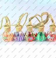 yuvarlak parfüm şişeleri toptan satış-Küçük 15 ml Yuvarlak Top Kristal Cam Boş Parfüm Şişesi Uçucu Yağlar Taşıma Konteyner Araba Kolye D0427