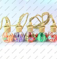 Wholesale Essential Oil Bottles Car - Small 15ml Round Ball Crystal Glass Empty Perfume Bottle Essential Oils Carry Container Car Pendant D0427