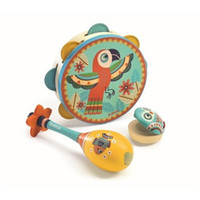 Wholesale Sanding Drum Set - [New arrival] [Hot sale] The French JECO children music toys 3 Piece Drum  sand hammer  castanets good playing intelligent suitable toy