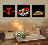 zeitgenössische wandbilder großhandel-Zeitgenössische schöne Blumen Bild Giclee Print auf Leinwand Home Decor Wandkunst Set30145