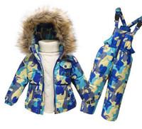 Wholesale Kids Velour Suits - PCS Set Kids Clothes (Down Jacket +Rompers)Sport ski suit Girls Boys Clothes Toddler Baby tracksuit Winter children clothing