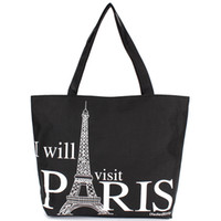 Wholesale large eiffel tower - Wholesale- Large Space Women Canvas Handbag Zipper Shopping Shoulder Bag Paris Eiffel Tower Pattern Girls Beach Bookbag Casual Tote Fashion