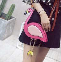 Wholesale Pink Flamingo Bird - Flamingo Chains Shoulder Bags Women Bags Pink Bird Bolsas Feminina Mobile Phone Bag Hand bag Cross Body Shoulder Bag KKA2889