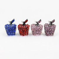 Wholesale Apple European - 7 colors 50pcs lot apple style Big Hole Loose space Beads charms For Pandora DIY Jewelry Bracelets For European fresshipping
