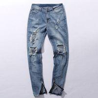 Wholesale Men Blue Jeans Size 36 - Wholesale-New Hi-Street Men's Blue Ripped Jeans Men Plus Size 30-36 Fashion Male Distressed Skinny Jeans Destroyed Denim Jeans Pants