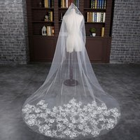 Wholesale Embroidery Edge White Cathedral Veil - Hot In Stock Luxurious 3 Meter White Ivory Cathedral Bridal Veils Flat Embroidery Wedding Veil Wedding Accessories 2017