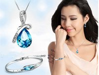 Wholesale Crystal Earrings Tear - Rhinestone Crystal Jewelry Sets Angel Tears Bracelet, Earring & Necklace Sets The Clothing Jewelry Sets Gift For Women 2016 New Fashion