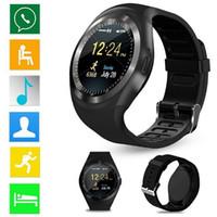 téléphone utilise sim achat en gros de-Livraison gratuite Y1 Smart Watch ronde Wrisbrand Android utiliser 2G carte SIM Intelligent téléphone mobile Smartwatch