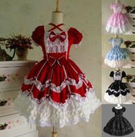 traje gótico do anime do lolita venda por atacado-Atacado-7 cores Halloween vitoriano Gothic Lolita vestido de princesa Cosplay Renascimento vestido vestido de baile Halloween trajes