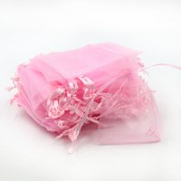 Wholesale Coffee Organza Bags - 7x9cm Pink Organza Giift Jewelry Bags Cheap Pouches Packaging Coffee Beans Sacks Customed Logo Printing 500pcs lot Wholesale