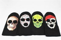 Funny Skull 3 Hole Face Mask Beanie Winter Warm Ski Snowboard Tricoté Casquettes Wear Balaclava Full Face Cover Mask Halloween Cosplay Costume