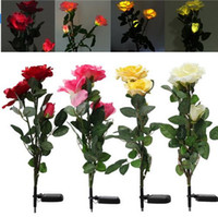 Wholesale Led Roses Wholesale - Solar Power Landscape Lighting 3 Rose Flower LED Light Garden Yard Lawn Decro Decoration View Lamp Red Yellow White Pink