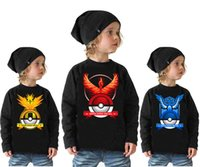 Wholesale Shirt Bird Cartoon - Long sleeve children poke go T-shirt spring autumn baby girls boys T shirt kids top tees cartoon THOR BIRD Fire Phoenix fashion clothing R-3