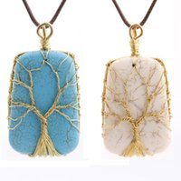 Wholesale Square Leather Cord - Charms Handmade Square Turquoise Gold Alloy Wire Wrap Tree of Life Pendant Leather Cord Necklace Womens Charms Jewelry Free Shipping