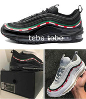 Wholesale Speed Laces - 2017 New 97 OG X Undftd Black Speed Red DS Top Quality Mens M 97s Running Shoes For Men Undftds Sports Sneakers WithBox Size 40-45