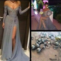 Wholesale Evening Dresses Long Grey - Charming Grey 2016 Evening Dresses Sexy Lace Applique Beading Formal Prom Gowns Split Bateau Neck Long Sleeves Lace Reception Dress