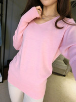Wholesale Ladies Cashmere Sweater Xl - 2016 New Fashion Women's Pullover Sweater Lady V-neck Batwing Sleeve Cashmere Wool Knitted Solid Color Wear Loose Size 4XL