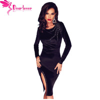 Dear Lover Frau Winter Kleid 2016 Party Kleine Schwarze Samt Scalloped Slit Langarm Schlank Midi Kleid Vestido de Festa LC61284 q1113