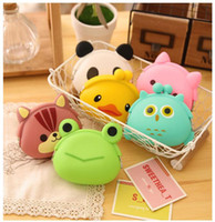 Wholesale Japanese Cute Wallets Women - 1000pcs Hot Selling Cute Mini key Wallet bag Women Silicone Coin Purse Japanese Candy Color lovely Animals Jelly Silicone Coin bag Free DHL