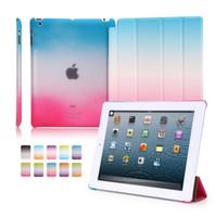 Wholesale Rainbow Dust - For Ipad Pro Ultra Thin Magnetic 3 Folding Folio Case Gradient Rainbow Wake Sleep Cover Case for iPad air 2 Ipad 2 3 4 Ipad Mini Ipad Pro