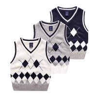 Wholesale Export Baby - Exported quality England style Dimond knitted vest All-matched Baby clothes kids sweaters children Autumn winter v-neck cotton 100-140cm